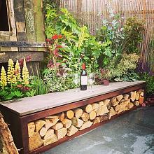 Woodstorage Bench 200x40x43 cm Corten