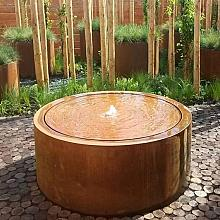 Corten Watertable round with pump and lights 120x40 cm