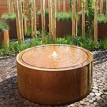 Corten Watertable round with pump and lights 145x40 cm