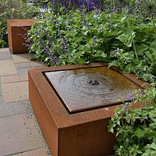 Corten Watertable with pump and lights 100x100x40 cm
